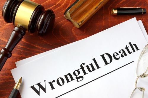 stack of papers labeled wrongful death